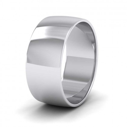 9ct White Gold 8mm 'D' Shape Classic Weight Wedding Ring