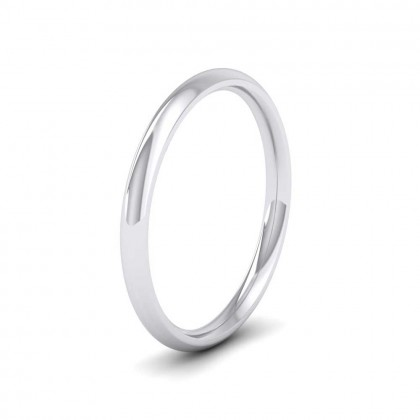 9ct White Gold 2mm Court Shape (Comfort Fit) Extra Heavy Weight Wedding Ring