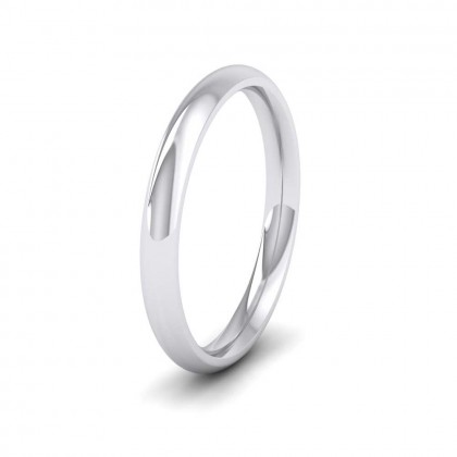 9ct White Gold 2.5mm Court Shape (Comfort Fit) Extra Heavy Weight Wedding Ring