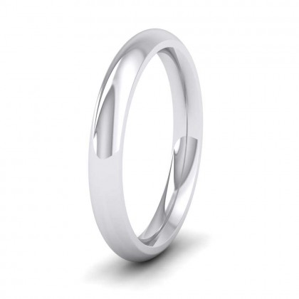 9ct White Gold 3mm Court Shape (Comfort Fit) Super Heavy Weight Wedding Ring