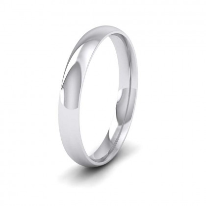 9ct White Gold 3mm Court Shape (Comfort Fit) Classic Weight Wedding Ring