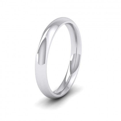 9ct White Gold 3mm Court Shape (Comfort Fit) Extra Heavy Weight Wedding Ring