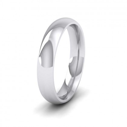 9ct White Gold 4mm Court Shape (Comfort Fit) Extra Heavy Weight Wedding Ring