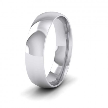 9ct White Gold 5mm Court Shape (Comfort Fit) Classic Weight Wedding Ring