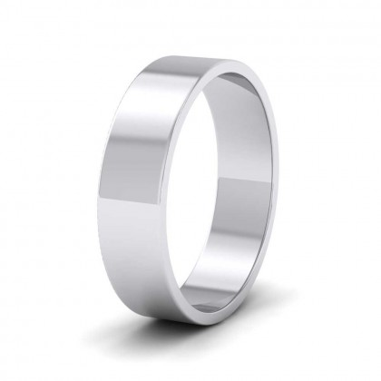 9ct White Gold 5mm Flat Shape Classic Weight Wedding Ring