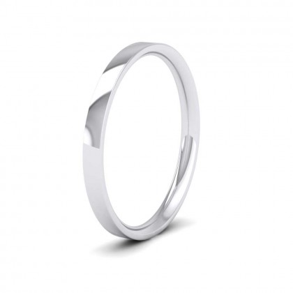 9ct White Gold 2mm Flat Shape (Comfort Fit) Classic Weight Wedding Ring