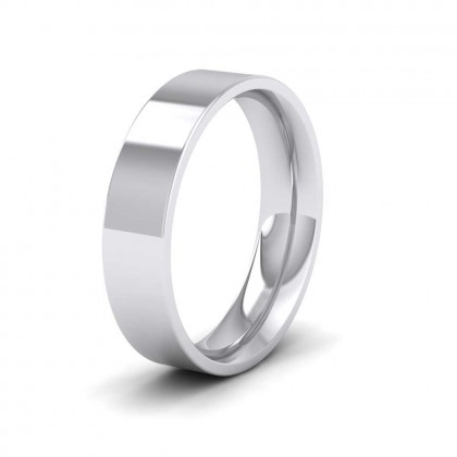 9ct White Gold 5mm Flat Shape (Comfort Fit) Extra Heavy Weight Wedding Ring