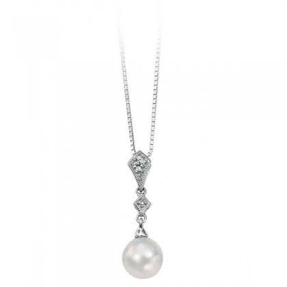 White Gold Pearl and Diamond Pendant