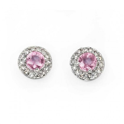 9ct White Gold Earrings Set With Pink Sapphire