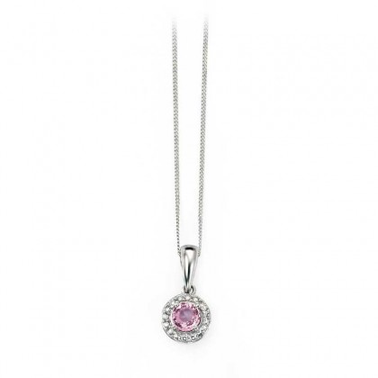 9ct White Gold Pendant Set With Pink Sapphire
