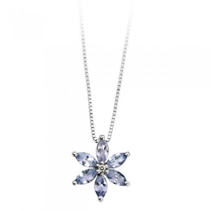 White Gold Tanzanite and Diamond Pendant