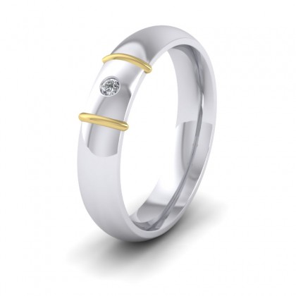 9ct White and Yellow Gold 5mm Court Shape Two Colour Diamond Wedding Ring