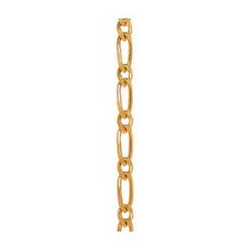 9ct Yellow Gold Diamond Cut 1-1 Figaro Chain 7.5 Inch Bracelet