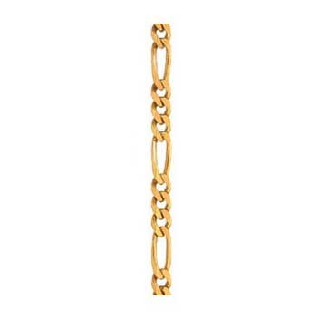 9ct Yellow Gold Diamond Cut Figaro Chain 7.5 Inch Bracelet