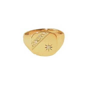 9ct Yellow Gold Gentlemans Diamond Set Bar Engraved Heavy Cushion Signet Ring