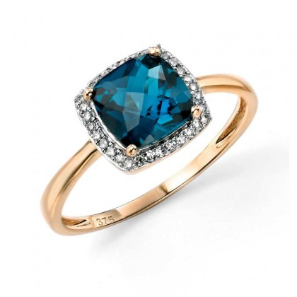 9ct Yellow Gold Ring Set With London Blue Topaz And Diamonds.