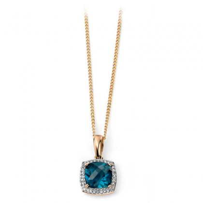 9ct Yellow Gold Cushion Shape Pendant With London Blue Topaz And Diamond.