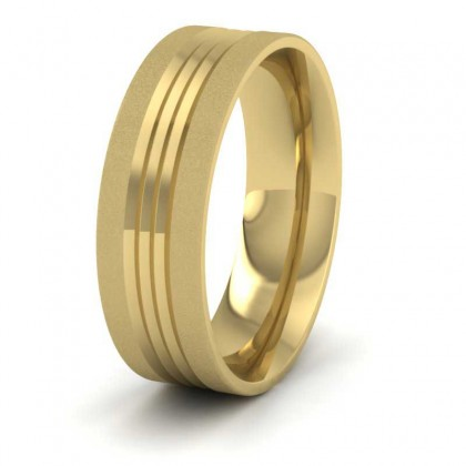 Grooved Pattern 9ct Yellow Gold 7mm Wedding Ring