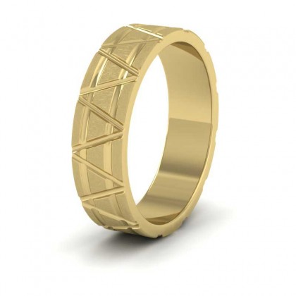 Zig Zag And Groove Pattern 9ct Yellow Gold 5mm Flat Wedding Ring