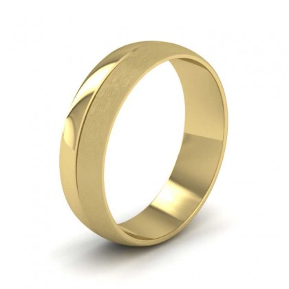 Matt And Polished Line Patterned 9ct Yellow Gold 6mm Wedding Ring