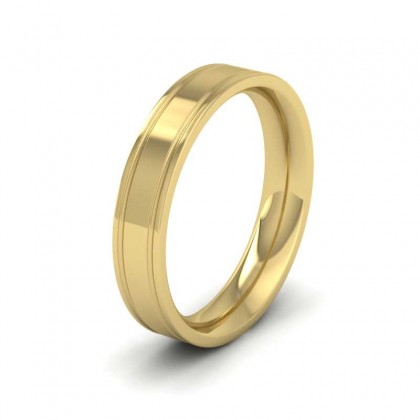 9ct Yellow Gold 4mm Flat Court Shape Patterned Wedding Ring