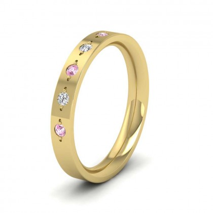 9ct Yellow Gold 3mm Flat Court Shape Five Stone Pink Sapphire and Diamond Wedding Ring