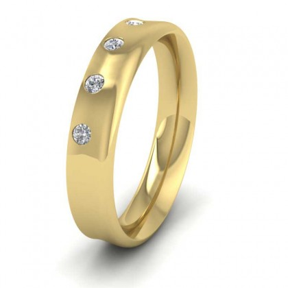 9ct Yellow Gold 4mm Flat Court Shape Five Stone Diamond Wedding Ring