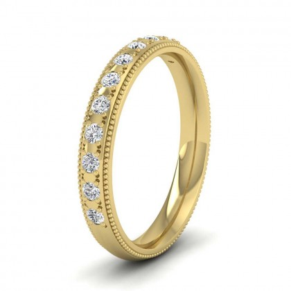 9ct Yellow Gold 3mm Court Shape Twelve Stone Diamond Wedding Ring