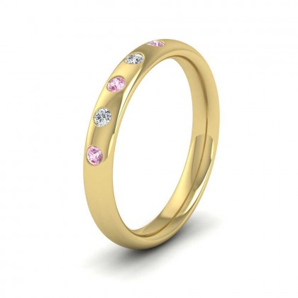 9ct Yellow Gold 3mm Court Shape Five Stone Pink Sapphire Diamond Wedding Ring