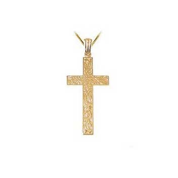 9ct Yellow Gold Large Embossed Cross and Chain