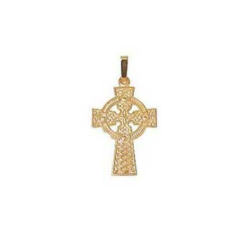 9ct Yellow Gold Celtic Cross Pendant and Chain Necklace