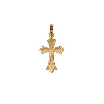 9ct Yellow Gold Small Embossed Cross and Chain