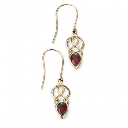 9ct Yellow Gold Celtic Dangling Hook Earrings Each Set With Garnet.