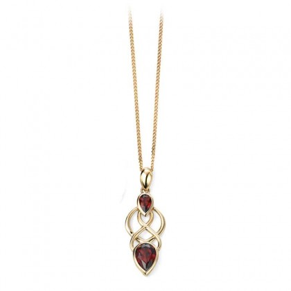 9ct Yellow Gold Celtic Pendant Set With Two Pear Shaped Garnets.