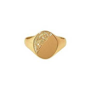9ct Yellow Gold Gentlemans Half Engraved Heavy Oval Signet Ring