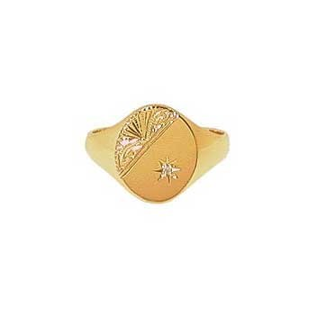 9ct Yellow Gold Gentlemans Half Engraved and Diamond Set Heavy Oval Signet Ring