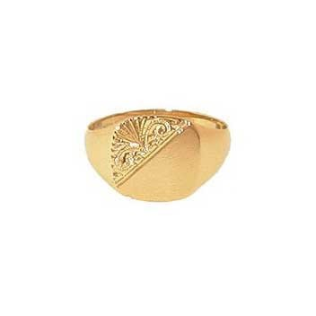 9ct Yellow Gold Gentlemans Half Engraved Heavy Cushion Signet Ring