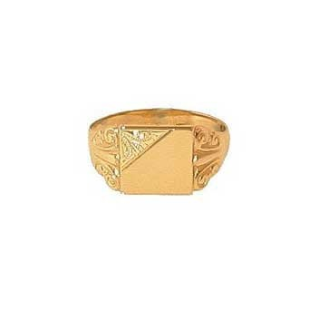 9ct Yellow Gold Half Engraved Square Signet Ring