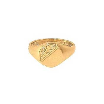 9ct Yellow Gold Half Engraved Ladies Oval Signet Ring