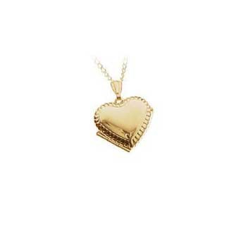 9ct Yellow Gold Embossed Opening Heart Locket and Chain Necklace