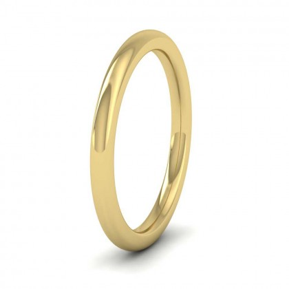 9ct Yellow Gold 2mm Cushion Court Shape (Comfort Fit) Super Heavy Weight Wedding Ring