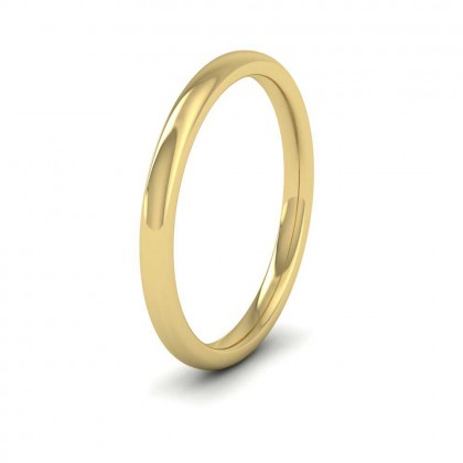 9ct Yellow Gold 2mm Cushion Court Shape (Comfort Fit) Extra Heavy Weight Wedding Ring