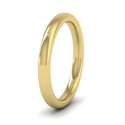 9ct Yellow Gold 2.5mm Cushion Court Shape (Comfort Fit) Super Heavy Weight Wedding Ring