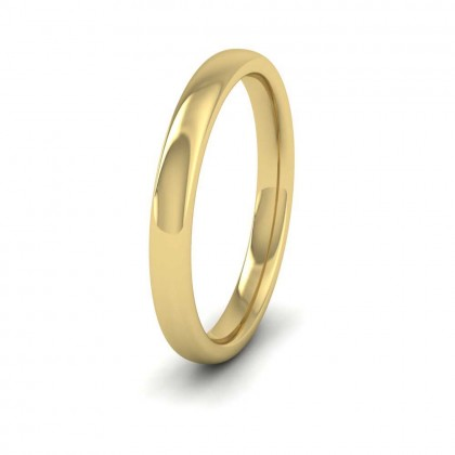 9ct Yellow Gold 2.5mm Cushion Court Shape (Comfort Fit) Extra Heavy Weight Wedding Ring