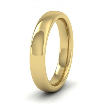 9ct Yellow Gold 4mm Cushion Court Shape (Comfort Fit) Super Heavy Weight Wedding Ring