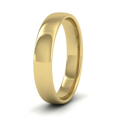 9ct Yellow Gold 4mm Cushion Court Shape (Comfort Fit) Classic Weight Wedding Ring