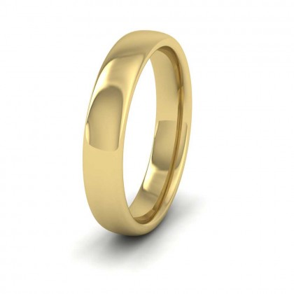 9ct Yellow Gold 4mm Cushion Court Shape (Comfort Fit) Extra Heavy Weight Wedding Ring