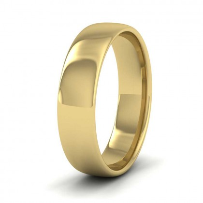 9ct Yellow Gold 5mm Cushion Court Shape (Comfort Fit) Classic Weight Wedding Ring