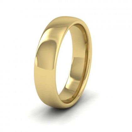 9ct Yellow Gold 5mm Cushion Court Shape (Comfort Fit) Extra Heavy Weight Wedding Ring