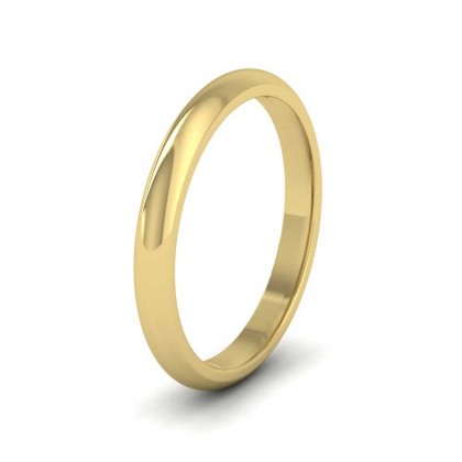 9ct Yellow Gold 2.5mm 'D' Shape Extra Heavy Weight Wedding Ring